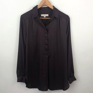 LOFT Deep Purple Silky Button Down Blouse
